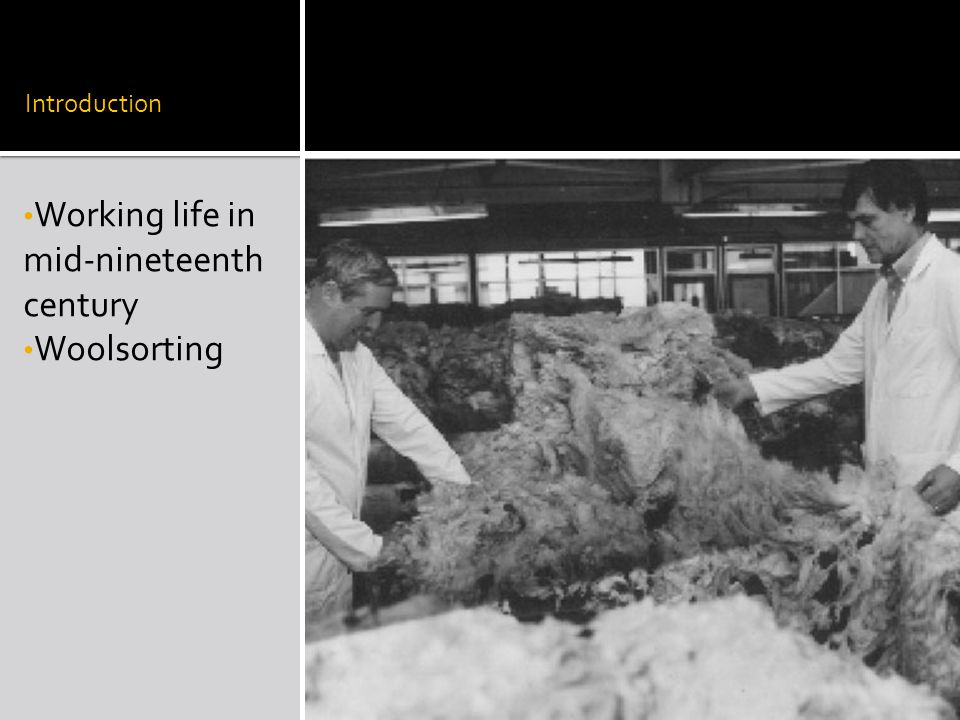  Seen in combers and carders  Wife's start being infected from husband's clothes (6 deaths in 1914)  Sir Thomas Legge (1863- 1932, right), the first Medical Inspector of Factories gets involved  Blames air currents  Blames certain wool especially Persian, mohair and van mohair