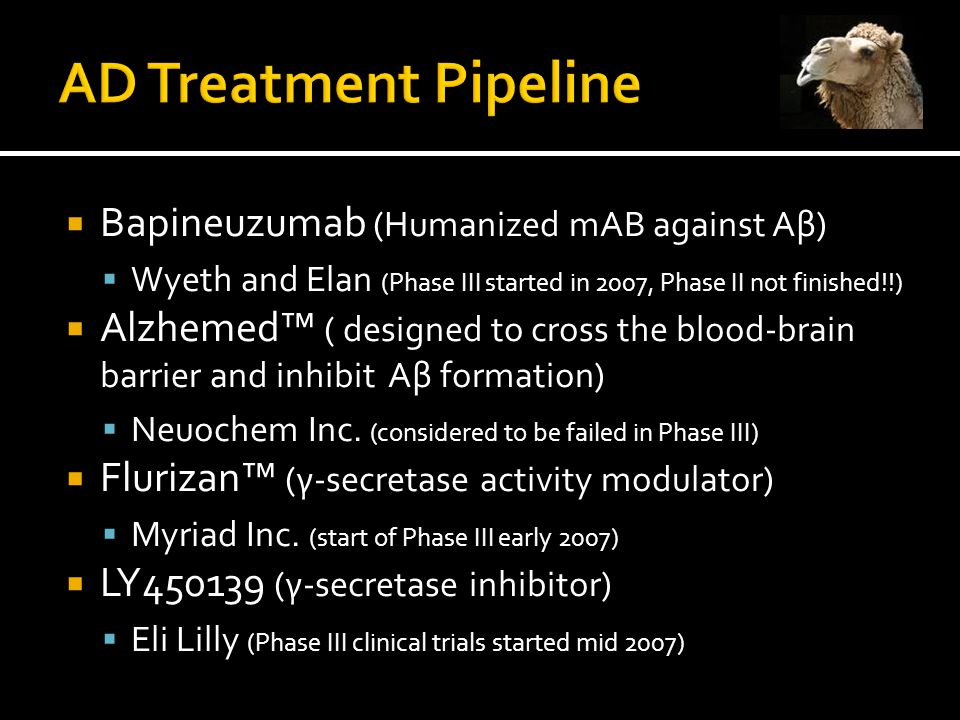  Bapineuzumab (Humanized mAB against Aβ)  Wyeth and Elan (Phase III started in 2007, Phase II not finished!!)  Alzhemed™ ( designed to cross the blood-brain barrier and inhibit Aβ formation)  Neuochem Inc.