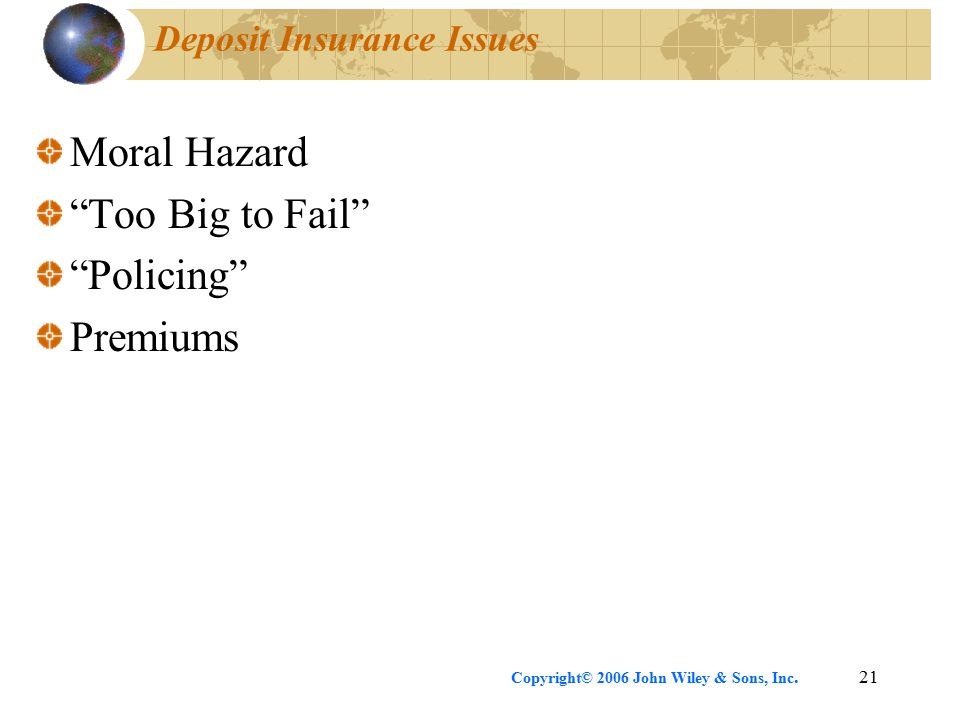 "Copyright© 2006 John Wiley & Sons, Inc.21 Deposit Insurance Issues Moral Hazard ""Too Big to Fail"" ""Policing"" Premiums"