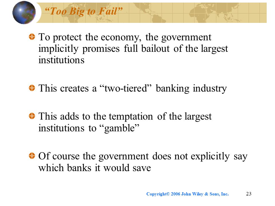 Copyright© 2006 John Wiley & Sons, Inc.23 Too Big to Fail To protect the economy, the government implicitly promises full bailout of the largest institutions This creates a two-tiered banking industry This adds to the temptation of the largest institutions to gamble Of course the government does not explicitly say which banks it would save