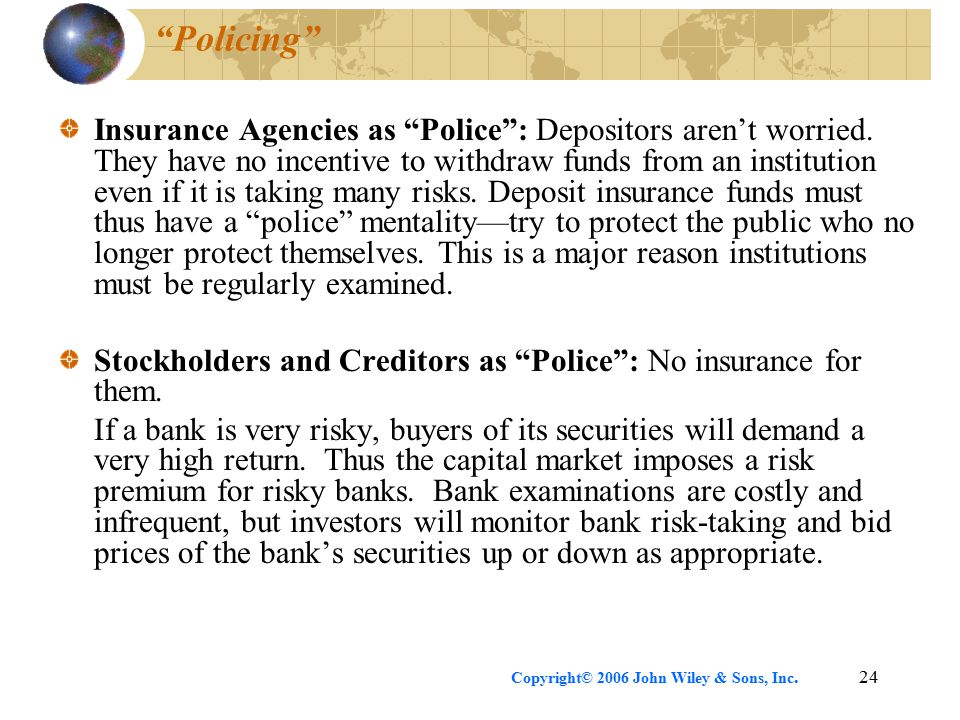 Copyright© 2006 John Wiley & Sons, Inc.24 Policing Insurance Agencies as Police : Depositors aren't worried.