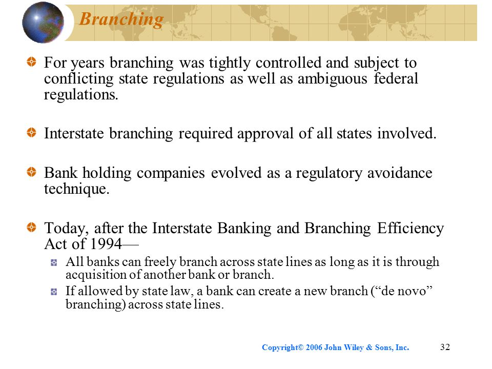 Copyright© 2006 John Wiley & Sons, Inc.32 Branching For years branching was tightly controlled and subject to conflicting state regulations as well as ambiguous federal regulations.