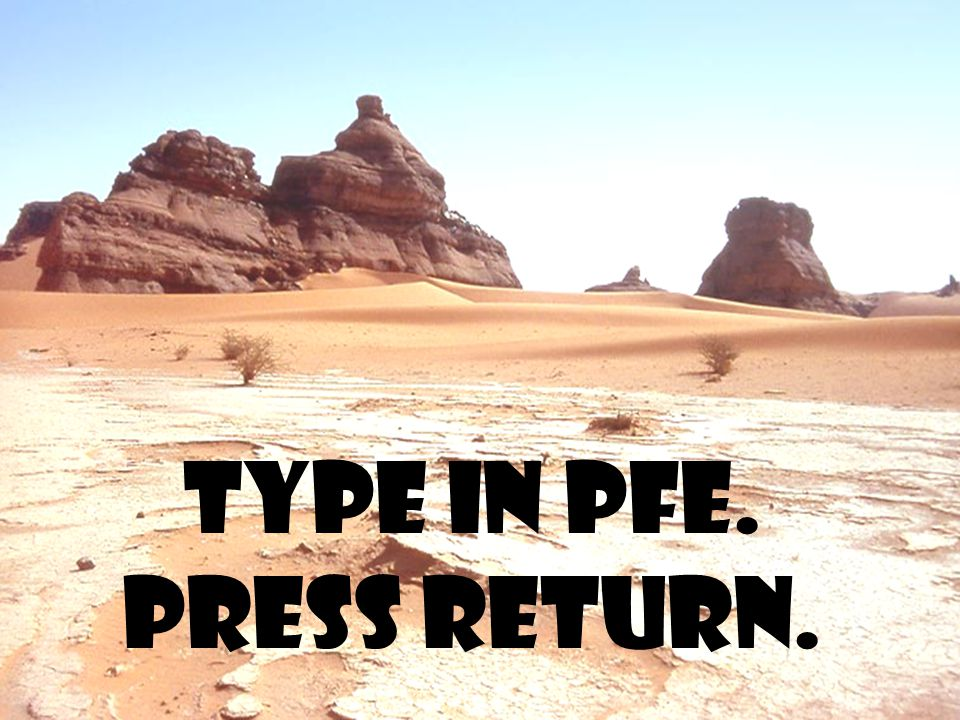 Type in PFE. Press return.