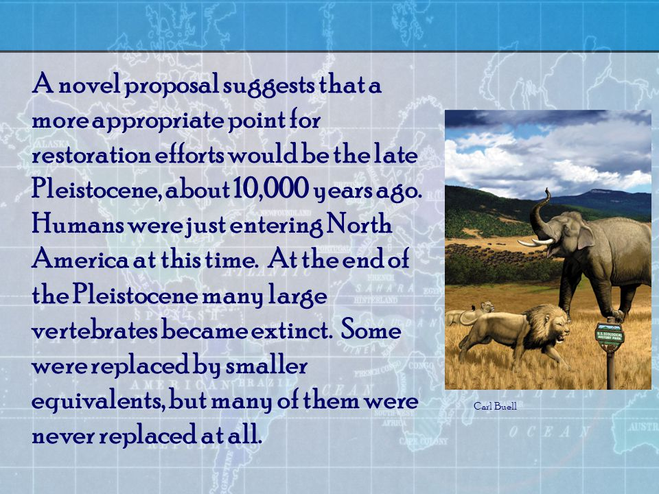 A novel proposal suggests that a more appropriate point for restoration efforts would be the late Pleistocene, about 10,000 years ago.