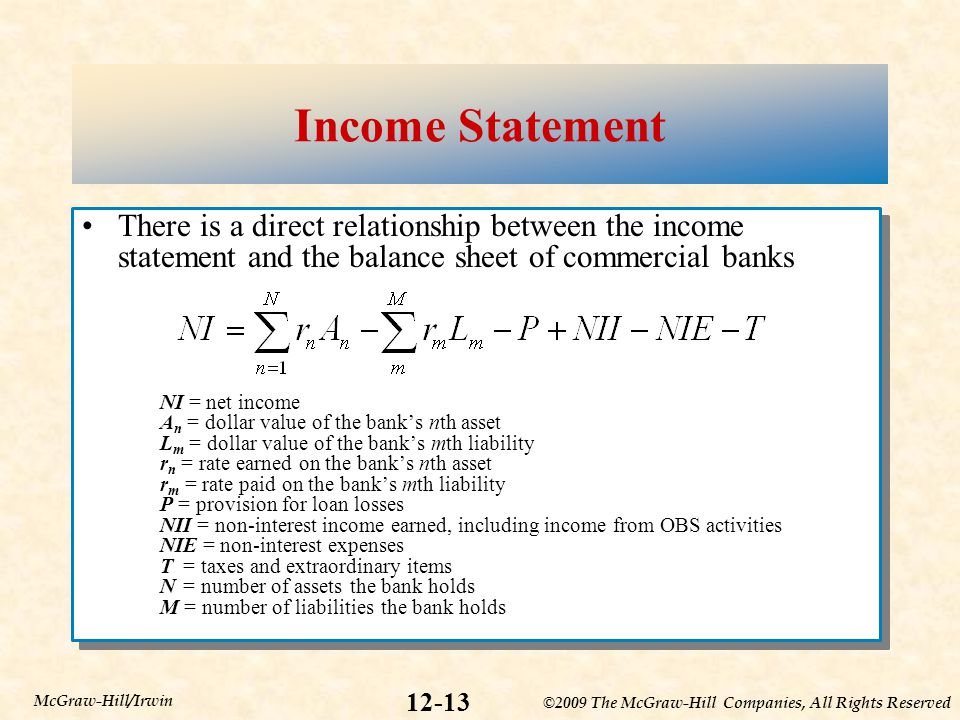 ©2009 The McGraw-Hill Companies, All Rights Reserved 12-13 McGraw-Hill/Irwin Income Statement There is a direct relationship between the income statem