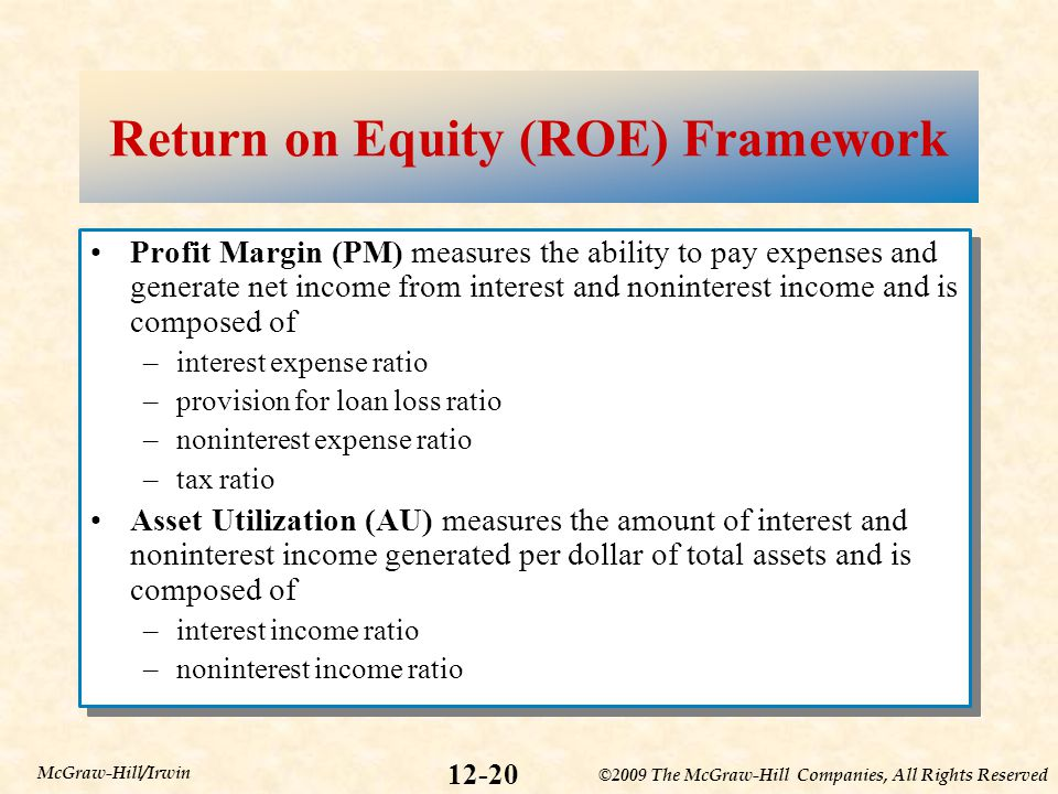 ©2009 The McGraw-Hill Companies, All Rights Reserved 12-20 McGraw-Hill/Irwin Return on Equity (ROE) Framework Profit Margin (PM) measures the ability