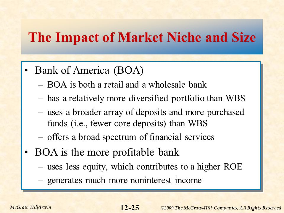 ©2009 The McGraw-Hill Companies, All Rights Reserved 12-25 McGraw-Hill/Irwin The Impact of Market Niche and Size Bank of America (BOA) –BOA is both a