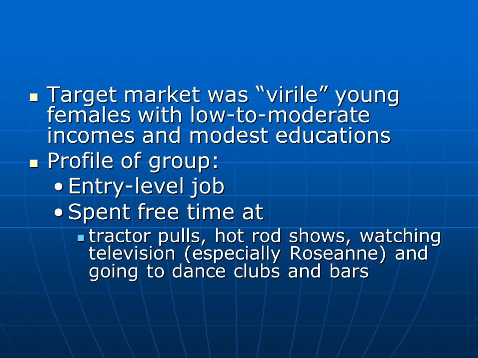 "Target market was ""virile"" young females with low-to-moderate incomes and modest educations Target market was ""virile"" young females with low-to-moder"