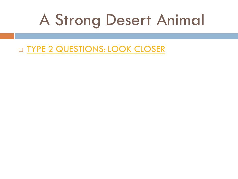 A Strong Desert Animal  TYPE 2 QUESTIONS: LOOK CLOSER TYPE 2 QUESTIONS: LOOK CLOSER