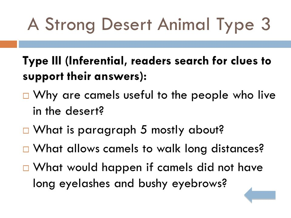 A Strong Desert Animal Type 3 Type III (Inferential, readers search for clues to support their answers):  Why are camels useful to the people who live in the desert.