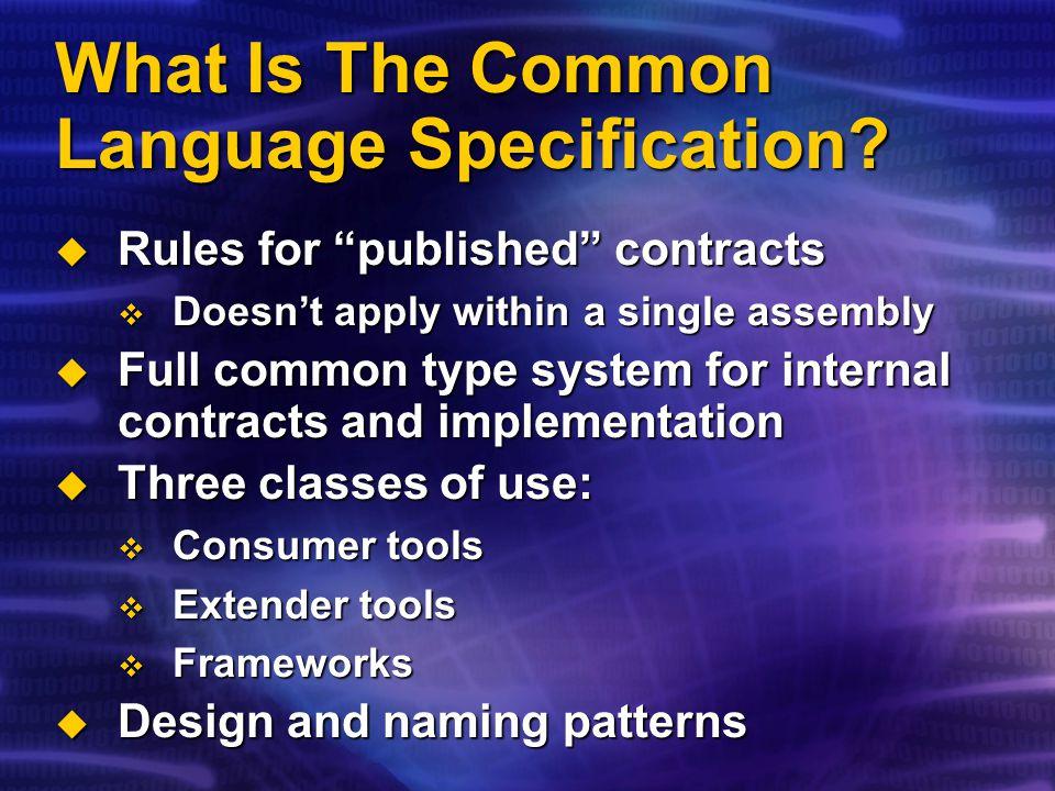 Interoperability Services C# VB C++ MSVCRT MFC/ATL Type System Standard Binary Standard