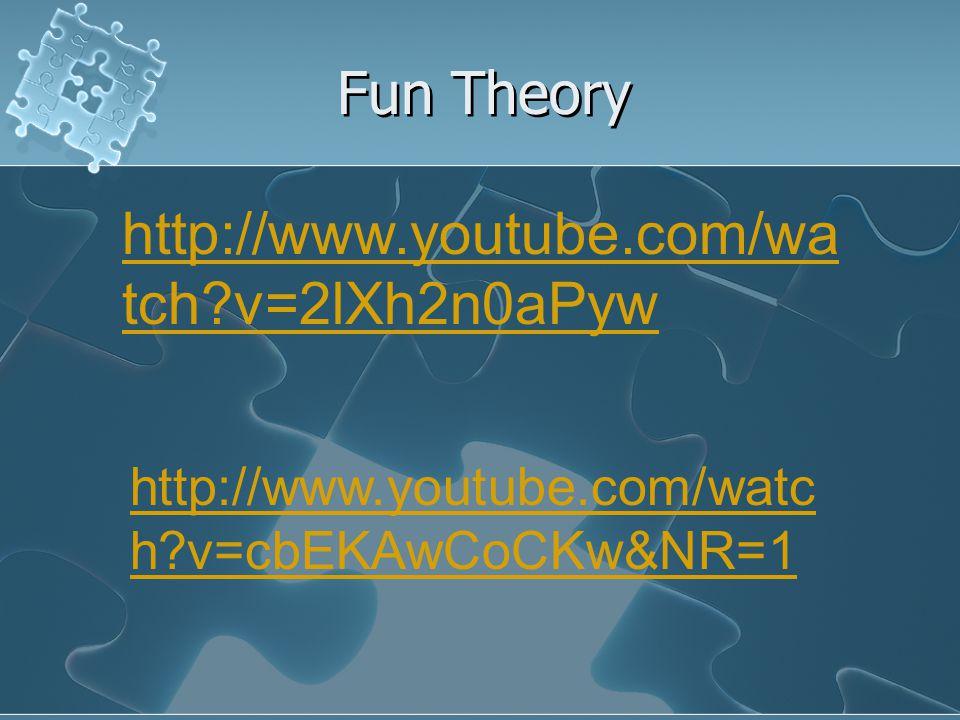 Fun Theory http://www.youtube.com/wa tch v=2lXh2n0aPyw http://www.youtube.com/watc h v=cbEKAwCoCKw&NR=1