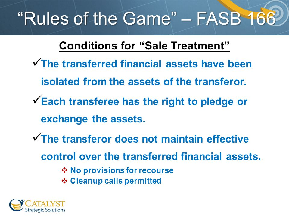 """Rules of the Game"" – FASB 166 Conditions for ""Sale Treatment"" The transferred financial assets have been isolated from the assets of the transferor."