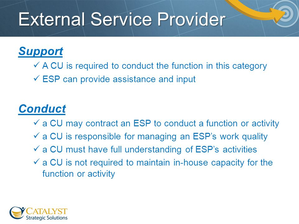 External Service Provider Support A CU is required to conduct the function in this category ESP can provide assistance and input Conduct a CU may cont