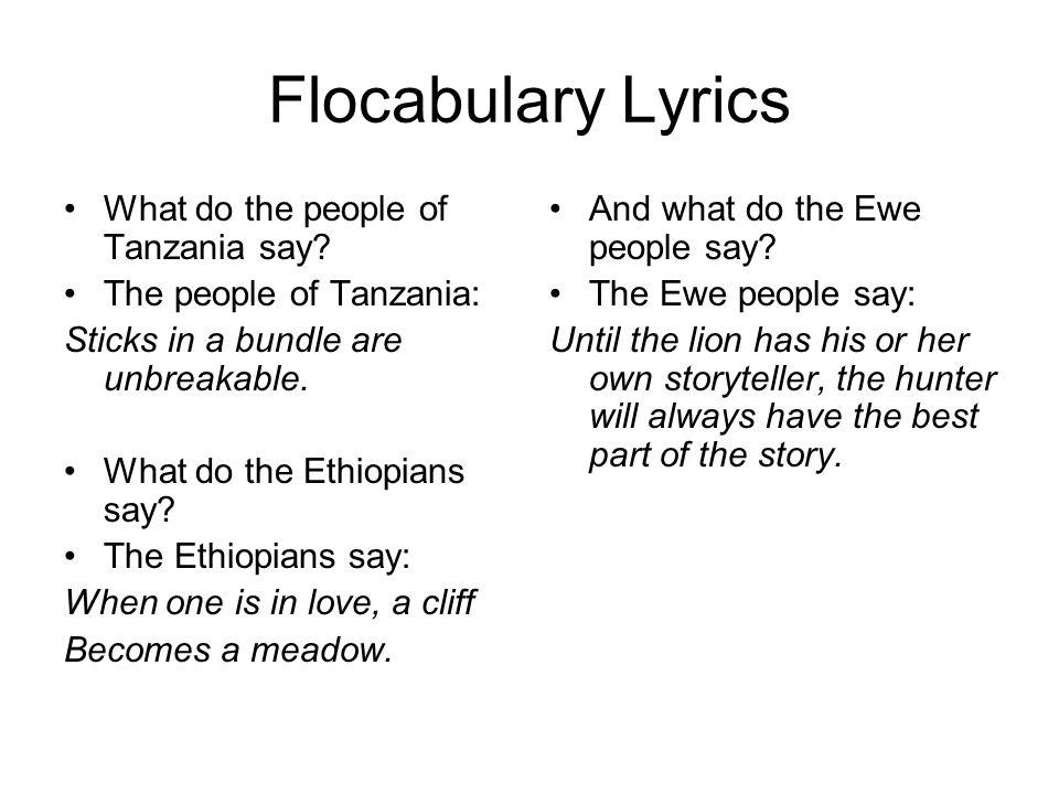 Flocabulary Lyrics What do the people of Tanzania say.