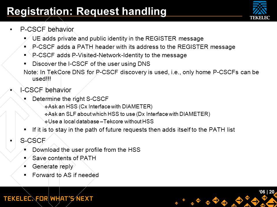 Tekelec Confidential '06 | 20 Registration: Request handling P-CSCF behavior  UE adds private and public identity in the REGISTER message  P-CSCF ad