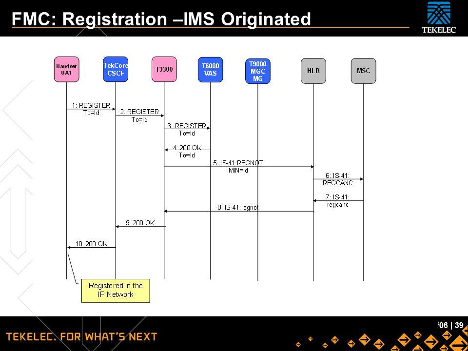 Tekelec Confidential '06 | 39 FMC: Registration –IMS Originated