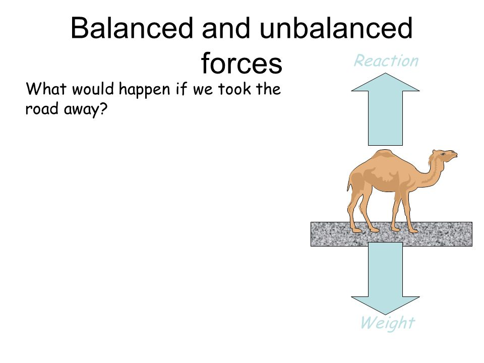 Balanced and unbalanced forces What would happen if we took the road away.