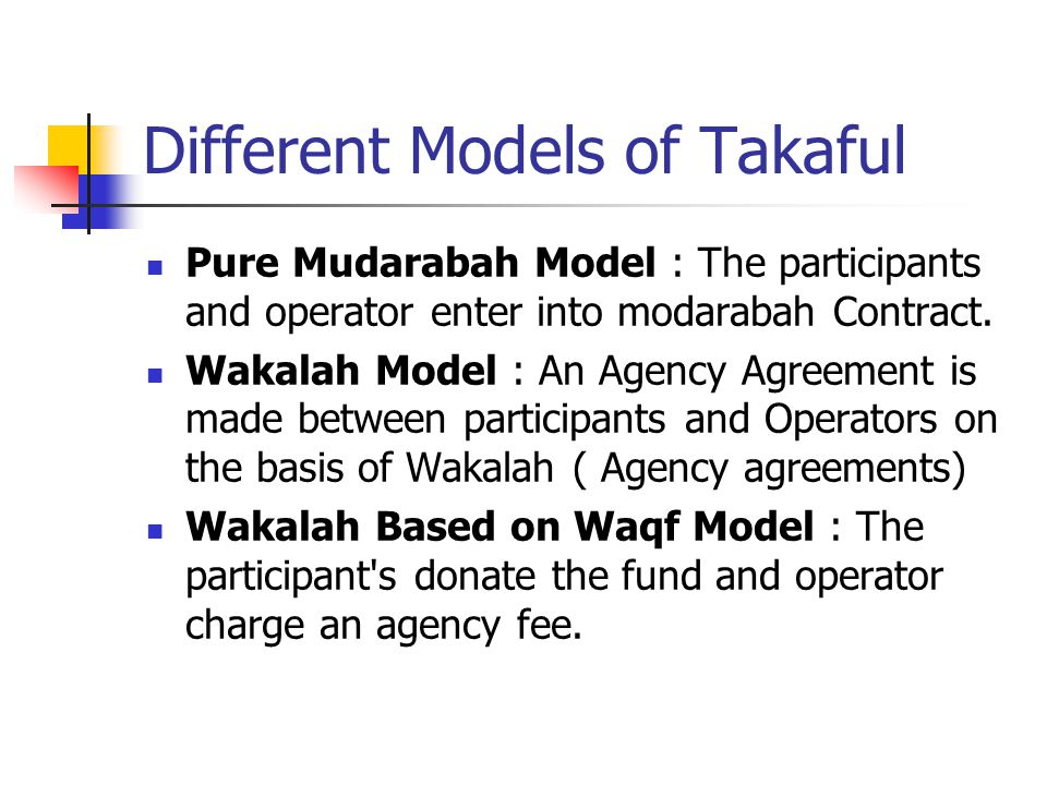 Different Models of Takaful Pure Mudarabah Model : The participants and operator enter into modarabah Contract.