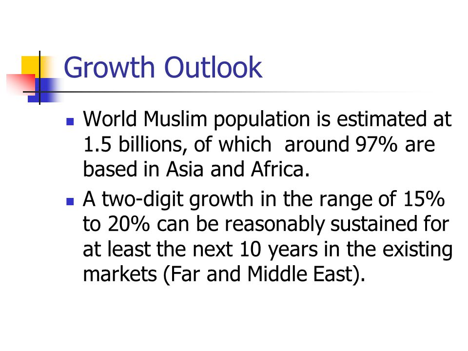 Growth Outlook World Muslim population is estimated at 1.5 billions, of which around 97% are based in Asia and Africa.