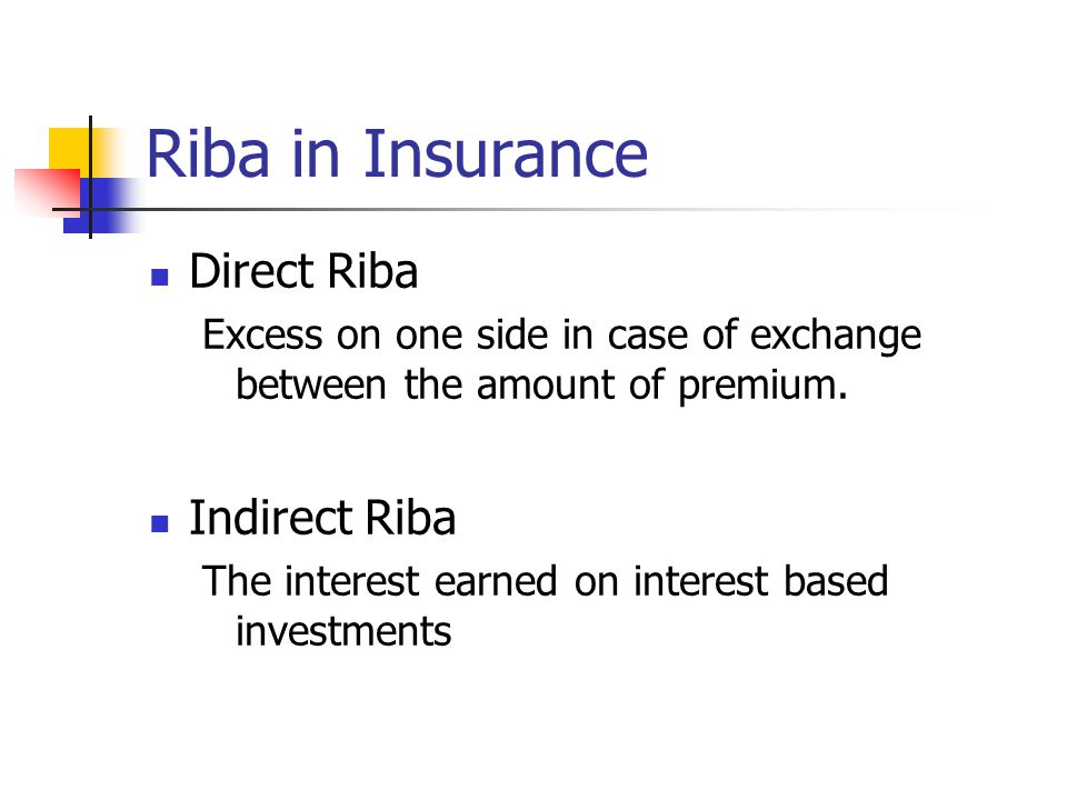 Riba in Insurance Direct Riba Excess on one side in case of exchange between the amount of premium.