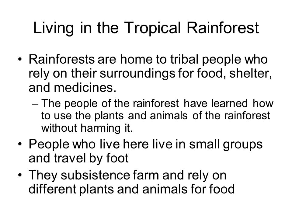 Living in the Tropical Rainforest Rainforests are home to tribal people who rely on their surroundings for food, shelter, and medicines.