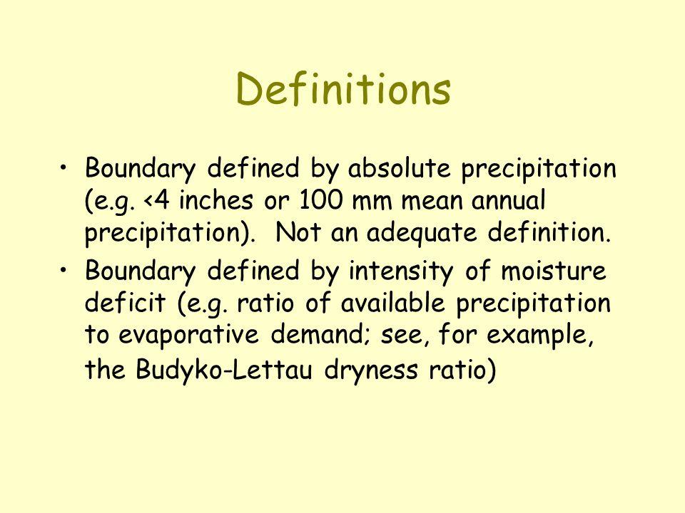 Budyko-Lettau dryness ratio D = R / (L x P) where D = dryness ratio; R = mean ann.