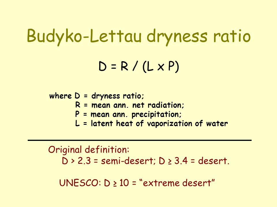 Budyko-Lettau dryness ratio D = R / (L x P) where D = dryness ratio; R = mean ann. net radiation; P = mean ann. precipitation; L = latent heat of vapo