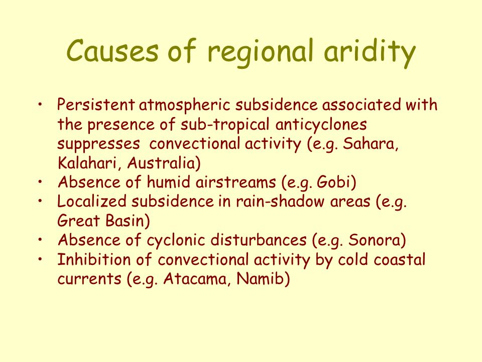 Causes of regional aridity Persistent atmospheric subsidence associated with the presence of sub-tropical anticyclones suppresses convectional activit