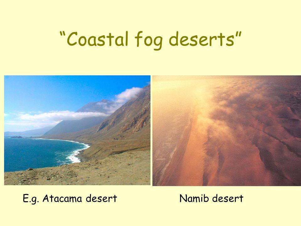 """Coastal fog deserts"" E.g. Atacama desert Namib desert"