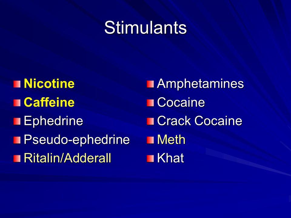 Stimulants Nicotine CaffeineEphedrinePseudo-ephedrineRitalin/AdderallAmphetaminesCocaine Crack Cocaine MethKhat