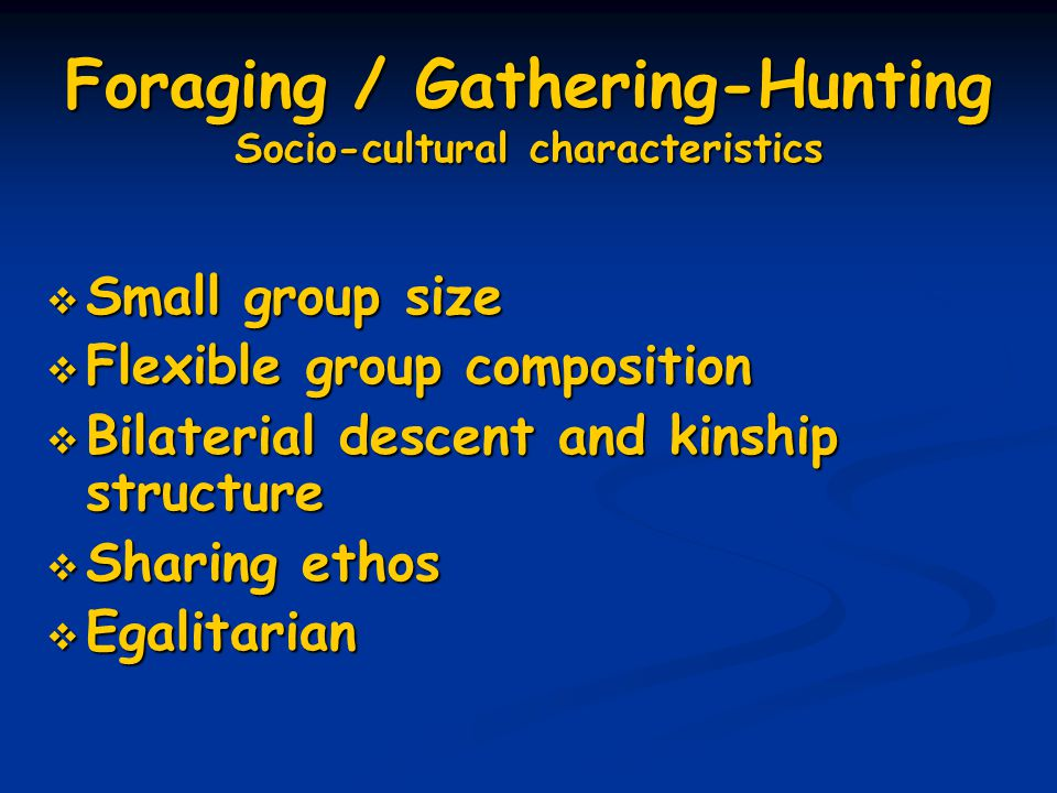 Foraging / Gathering-Hunting Socio-cultural characteristics  Small group size  Flexible group composition  Bilaterial descent and kinship structure  Sharing ethos  Egalitarian