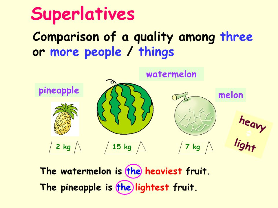 Comparison of a quality among three or more people / things The watermelon is the heaviest fruit.
