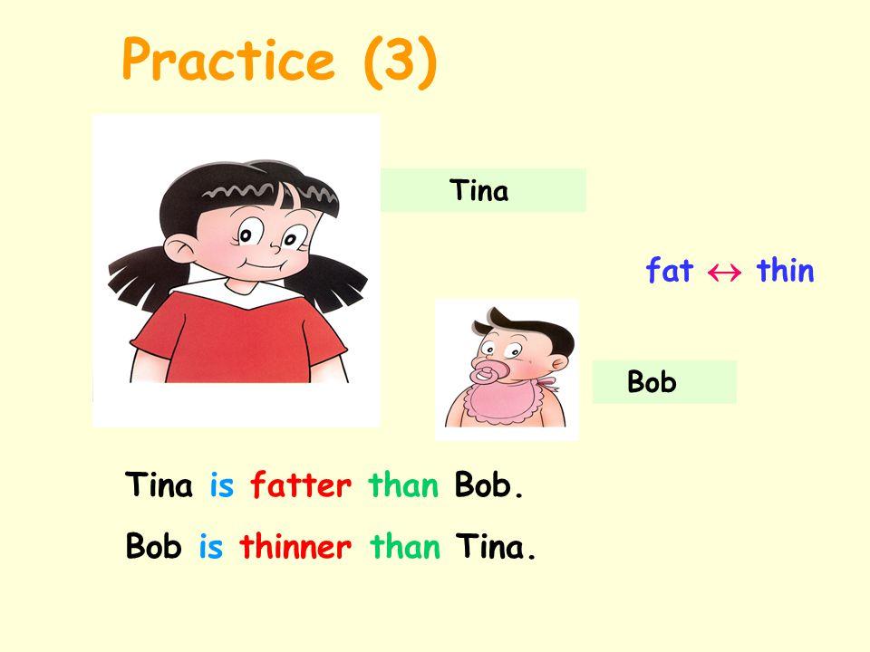 Tina Bob fat  thin Tina is fatter than Bob. Bob is thinner than Tina. Practice (3)
