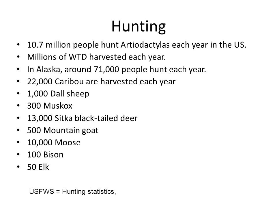Hunting 10.7 million people hunt Artiodactylas each year in the US.
