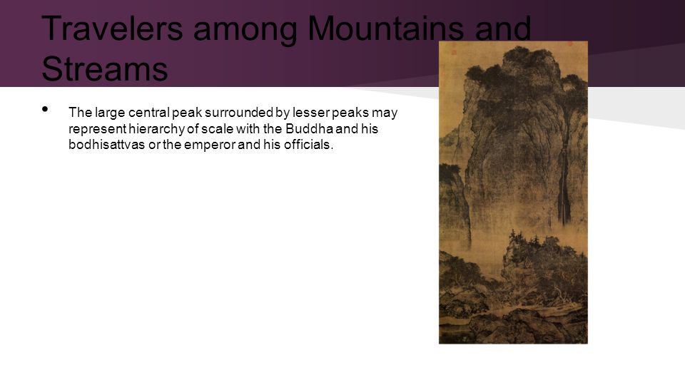 The large central peak surrounded by lesser peaks may represent hierarchy of scale with the Buddha and his bodhisattvas or the emperor and his officials.