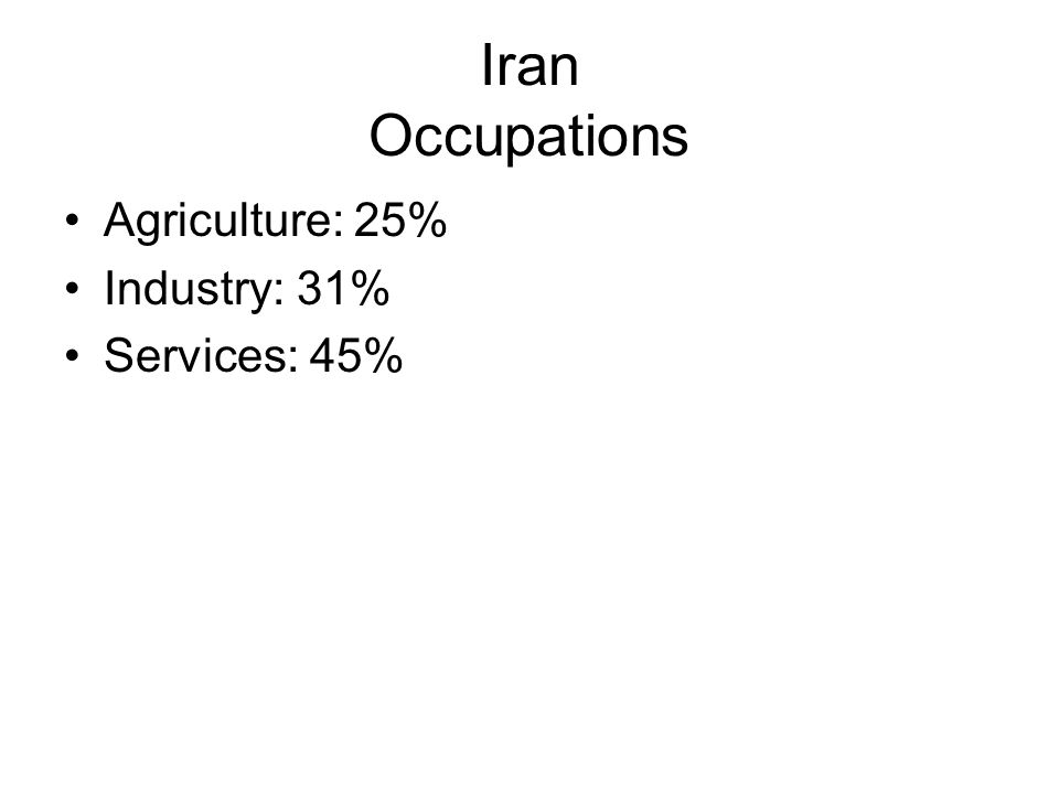 Iran Occupations Agriculture: 25% Industry: 31% Services: 45%