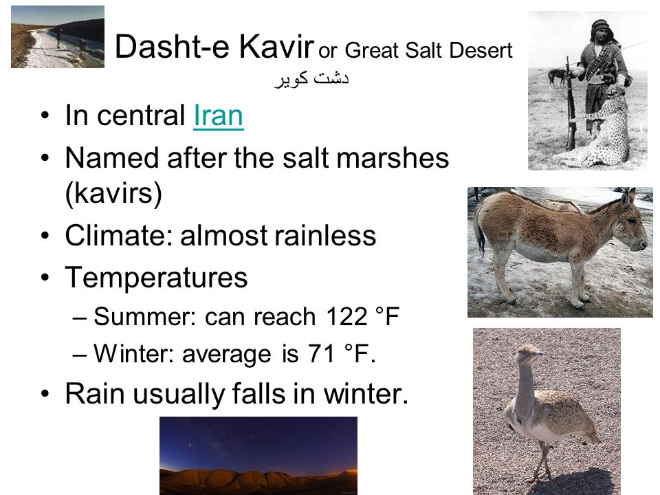 In central IranIran Named after the salt marshes (kavirs) Climate: almost rainless Temperatures –Summer: can reach 122 °F –Winter: average is 71 °F. R
