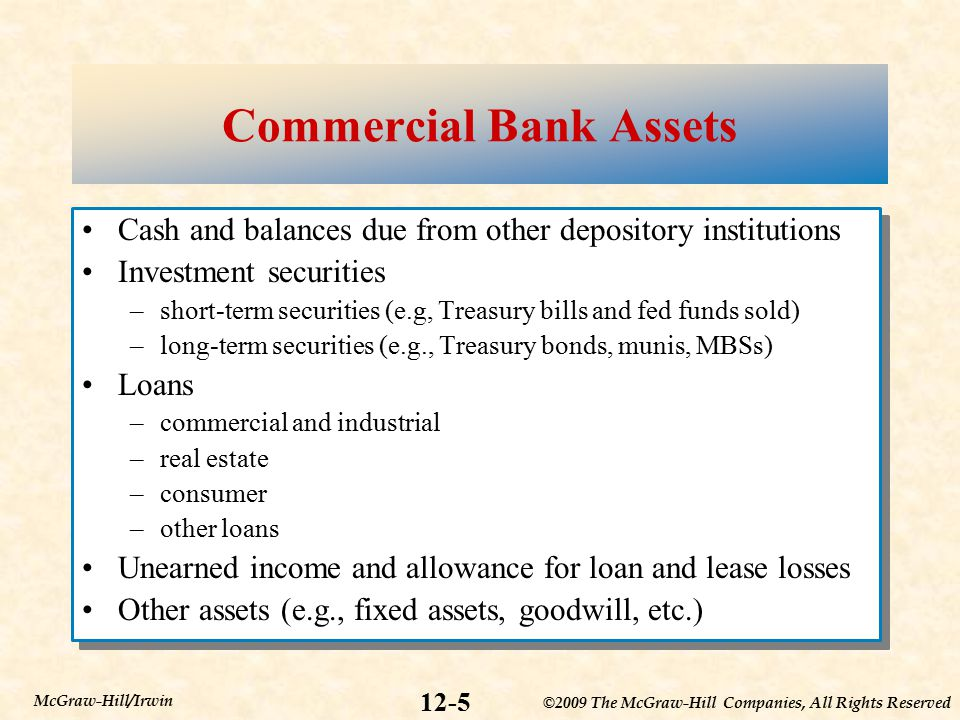 ©2009 The McGraw-Hill Companies, All Rights Reserved 12-5 McGraw-Hill/Irwin Commercial Bank Assets Cash and balances due from other depository institutions Investment securities –short-term securities (e.g, Treasury bills and fed funds sold) –long-term securities (e.g., Treasury bonds, munis, MBSs) Loans –commercial and industrial –real estate –consumer –other loans Unearned income and allowance for loan and lease losses Other assets (e.g., fixed assets, goodwill, etc.) Cash and balances due from other depository institutions Investment securities –short-term securities (e.g, Treasury bills and fed funds sold) –long-term securities (e.g., Treasury bonds, munis, MBSs) Loans –commercial and industrial –real estate –consumer –other loans Unearned income and allowance for loan and lease losses Other assets (e.g., fixed assets, goodwill, etc.)