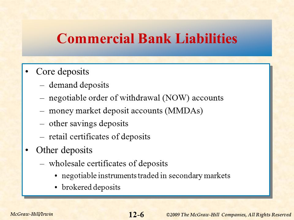 ©2009 The McGraw-Hill Companies, All Rights Reserved 12-6 McGraw-Hill/Irwin Commercial Bank Liabilities Core deposits –demand deposits –negotiable order of withdrawal (NOW) accounts –money market deposit accounts (MMDAs) –other savings deposits –retail certificates of deposits Other deposits –wholesale certificates of deposits negotiable instruments traded in secondary markets brokered deposits Core deposits –demand deposits –negotiable order of withdrawal (NOW) accounts –money market deposit accounts (MMDAs) –other savings deposits –retail certificates of deposits Other deposits –wholesale certificates of deposits negotiable instruments traded in secondary markets brokered deposits