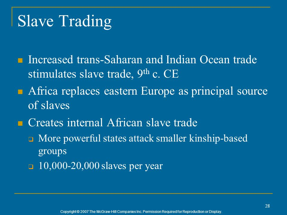 Copyright © 2007 The McGraw-Hill Companies Inc. Permission Required for Reproduction or Display. 28 Slave Trading Increased trans-Saharan and Indian O