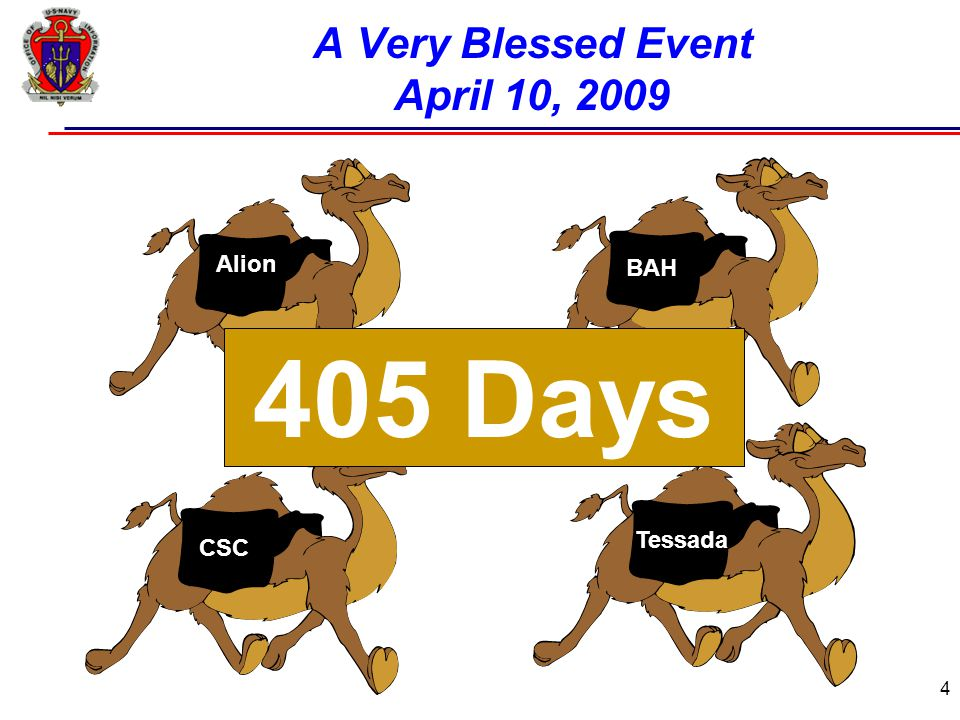 4 A Very Blessed Event April 10, 2009 Alion CSC BAH Tessada 405 Days