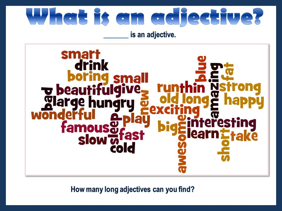 Adjectives are divided into syllables: Syllable is a part of a word containing vowel sound 1 st syllable 2nd syllable