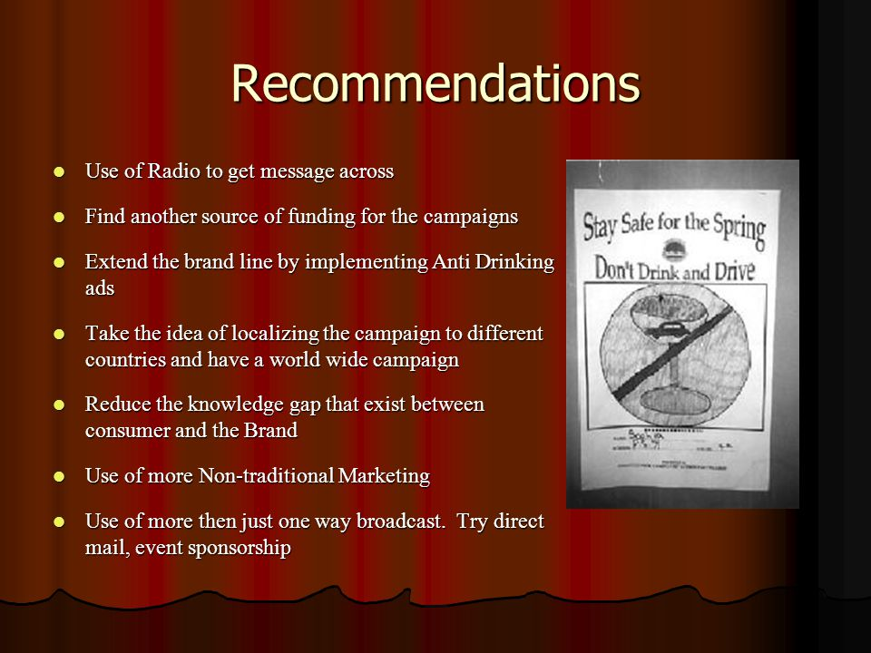 Recommendations Use of Radio to get message across Use of Radio to get message across Find another source of funding for the campaigns Find another source of funding for the campaigns Extend the brand line by implementing Anti Drinking ads Extend the brand line by implementing Anti Drinking ads Take the idea of localizing the campaign to different countries and have a world wide campaign Take the idea of localizing the campaign to different countries and have a world wide campaign Reduce the knowledge gap that exist between consumer and the Brand Reduce the knowledge gap that exist between consumer and the Brand Use of more Non-traditional Marketing Use of more Non-traditional Marketing Use of more then just one way broadcast.