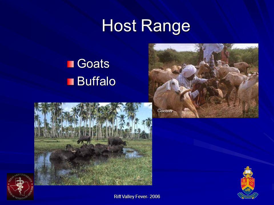 Rift Valley Fever- 2006 Host Range GoatsBuffalo