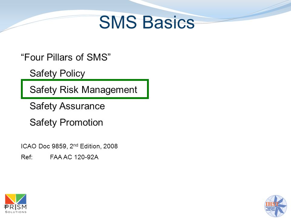 26 Four Pillars of SMS Safety Policy Safety Risk Management Safety Assurance Safety Promotion ICAO Doc 9859, 2 nd Edition, 2008 Ref: FAA AC 120-92A SMS Basics