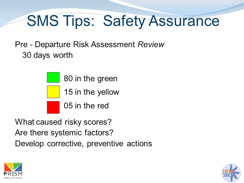 54 Pre - Departure Risk Assessment Review 30 days worth 80 in the green 15 in the yellow 05 in the red What caused risky scores.