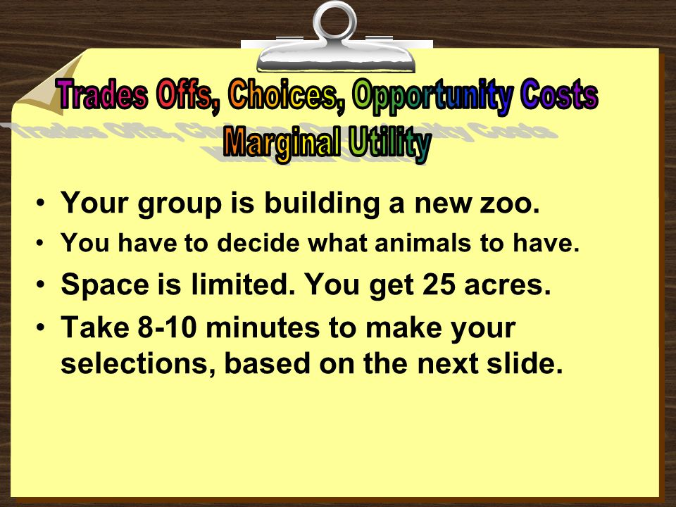 Your group is building a new zoo. You have to decide what animals to have. Space is limited. You get 25 acres. Take 8-10 minutes to make your selectio
