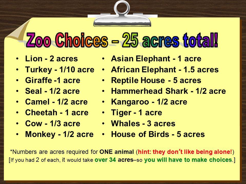 Lion - 2 acres Turkey - 1/10 acre Giraffe -1 acre Seal - 1/2 acre Camel - 1/2 acre Cheetah - 1 acre Cow - 1/3 acre Monkey - 1/2 acre Asian Elephant -