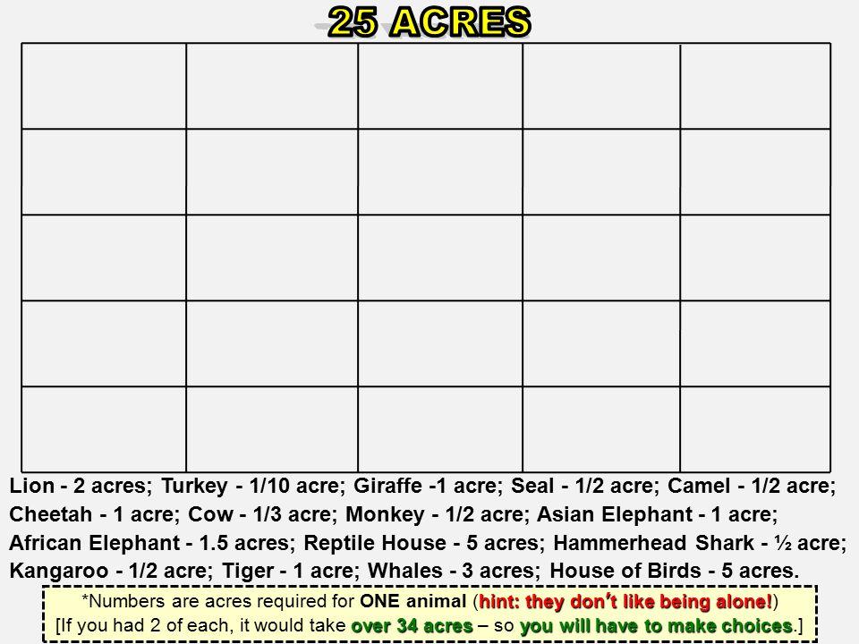 Lion - 2 acres; Turkey - 1/10 acre; Giraffe -1 acre; Seal - 1/2 acre; Camel - 1/2 acre; Cheetah - 1 acre; Cow - 1/3 acre; Monkey - 1/2 acre; Asian Ele